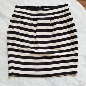 Banana Republic Stripes Black and White Skirt